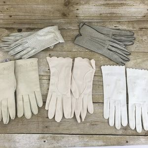 Vtg Womens  Kid Leather Gloves 1960's 5 Pair